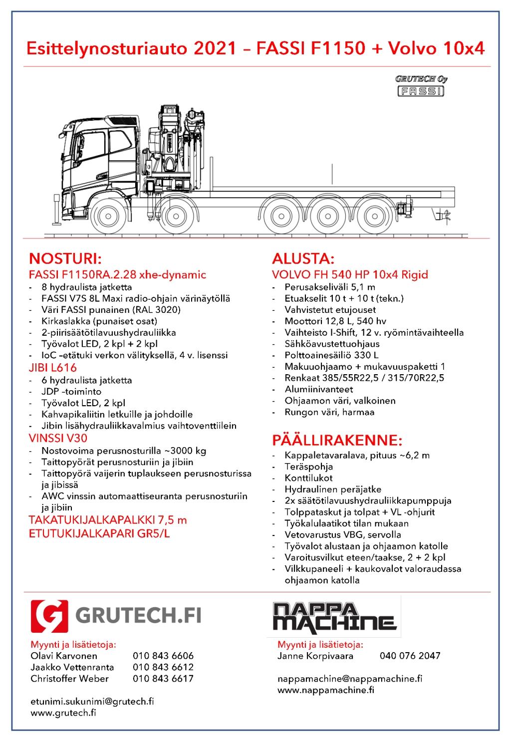 FASSI F1150-Volvo 10x4 -esittelyauto